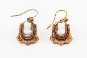 Early Victorian Agate Cameo Earrings