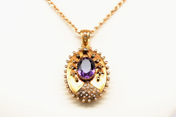 Victorian Amethyst and Seed Pearl Locket circa 1870