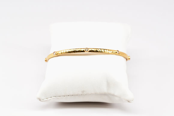 Hammered Gold and Diamond Bangle