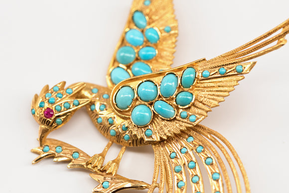 Gold and Turquoise Bird