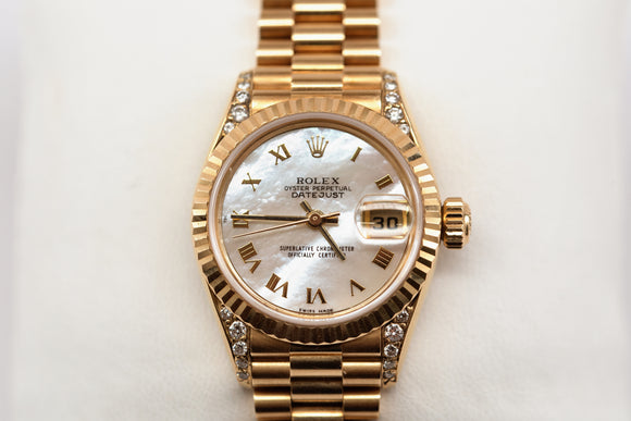 18K Gold Ladies' Oyster Presidential Date Just Rolex Watch
