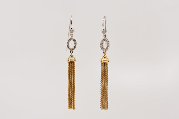 SOLD Gold Tassel and Diamond Dangle Earrings