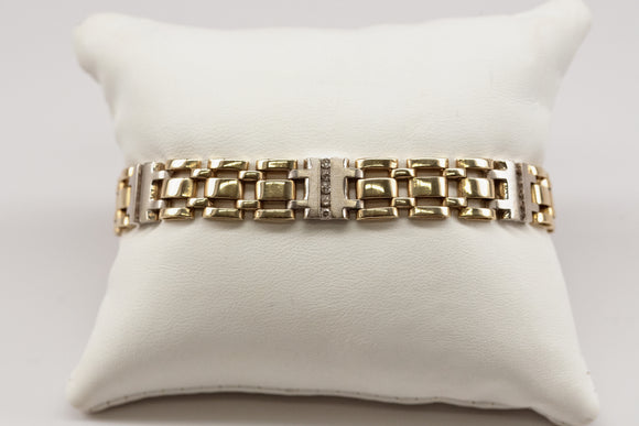Mens' Diamond and Two-Tone Gold Bracelet