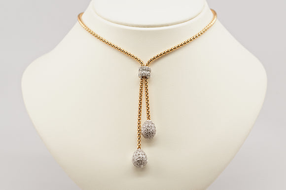 SOLD Diamond and Gold Lariat Style Necklace