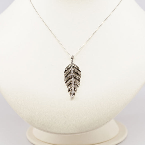 EFFY Black and White Diamond Feather Pendant