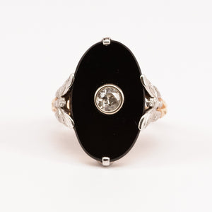 Onyx and Diamond Butterfly Ring