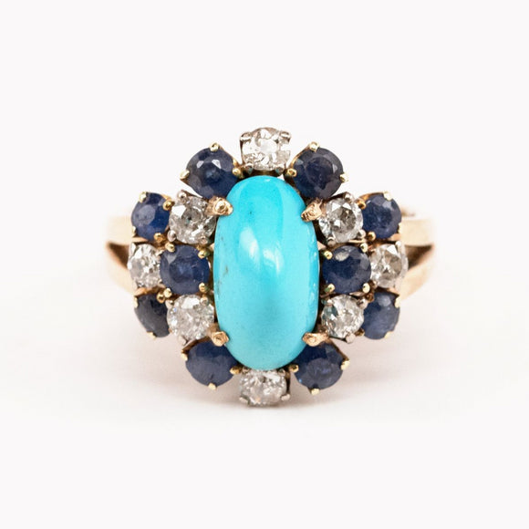 Turquoise and Sapphire Cocktail Ring