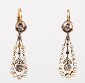 Victorian Seed Pearl Drop Earrings