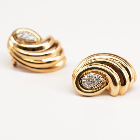 Bold Gold and Diamond Swirl Earrings