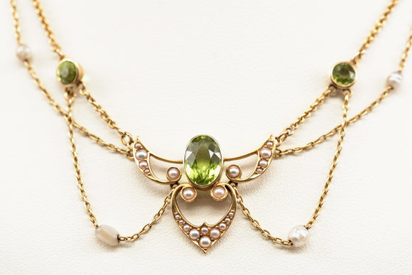 Art Nouveau Peridot and Cultured Pearl Choker