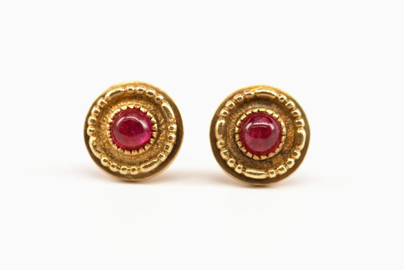 SOLD Cabochon Ruby Studs