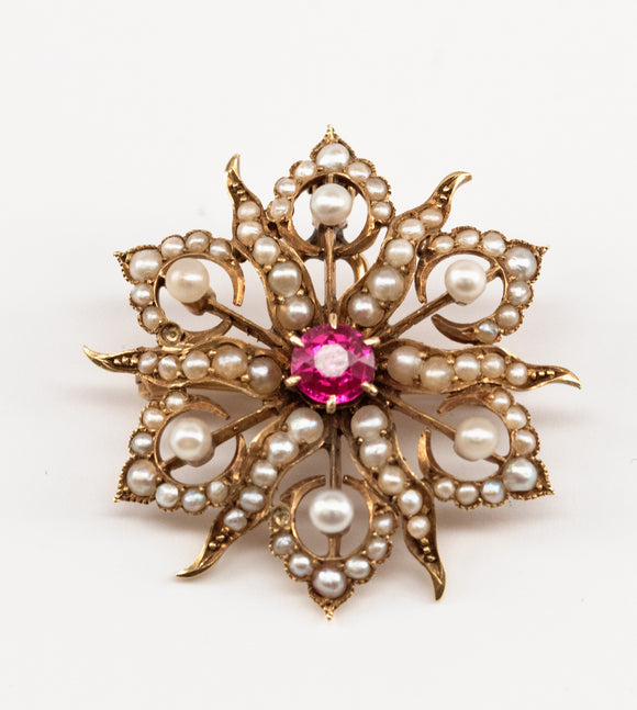 Synthetic Ruby and Seed Pearl Brooch / Pendant