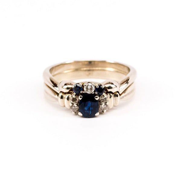 SOLD Vintage Sapphire Wedding Set