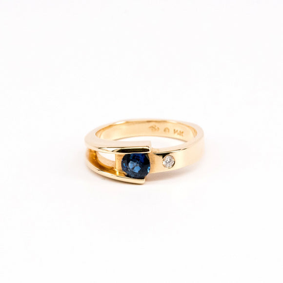 SOLD Asymmetrical Sapphire and Diamond Ring