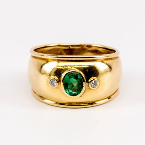 18K Wide Emerald Ring