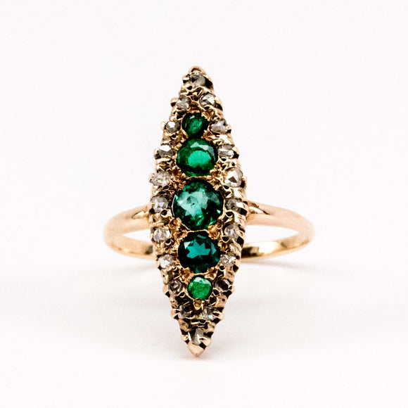 Victorian Emerald Navette Ring