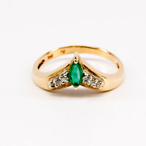 Marquis Emerald V Ring