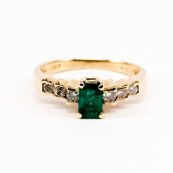 Tiered Channel Set Emerald and Diamond Ring