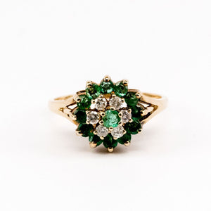 Emerald and Diamond Flower Cluster Ring