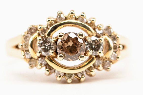 Three Stone Halo Style with Champagne Center Ring