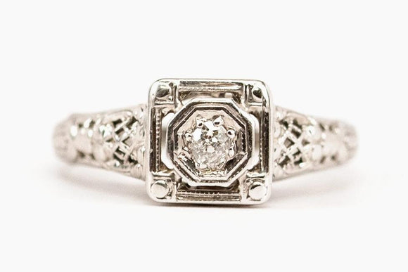 Art Deco Lattice Diamond Engagement Ring