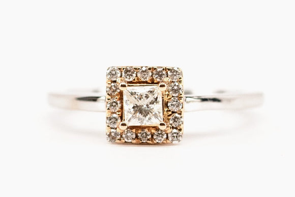 SOLD Princess Cut Two Tone Engagement Ring