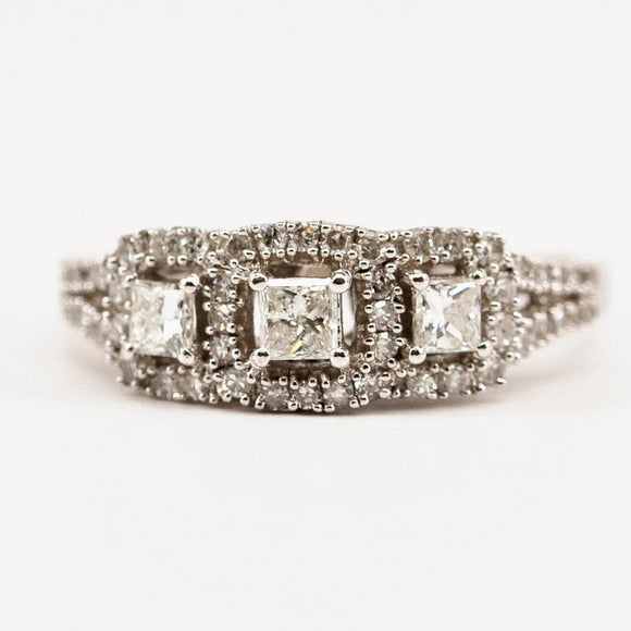 Princess Cut Halo Three-Stone Ring
