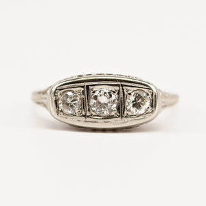 Petite Filigree Three Stone Ring