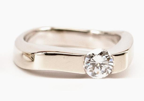 SOLD Asymmetrical Modern Diamond Solitaire Ring