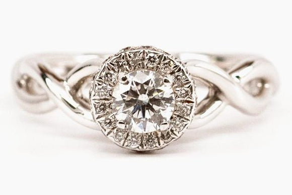 Diamond Halo Engagement Ring with Criss-Cross Shank