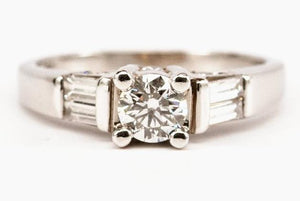 Classic Diamond Engagement Ring with Baguette Side Stones