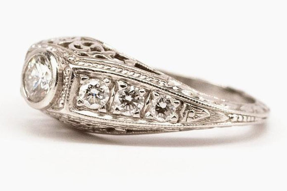 SOLD Art Deco Inspired Platinum and Diamond Ring