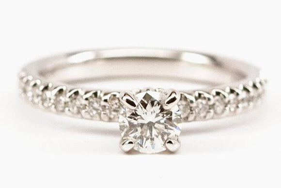 Classic .50ct Diamond Engagement Ring with Fleur de Lis Head