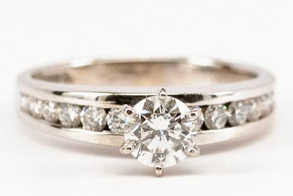Classic .53ct Diamond Engagement Ring with Channel Set Sides