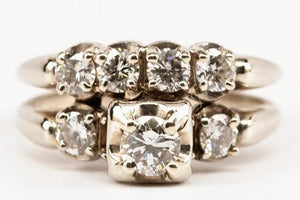 1ctw Vintage Soldered Diamond Wedding Set