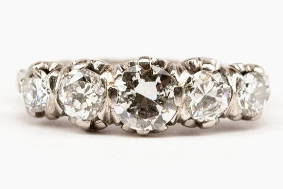Art Deco Platinum and Diamond Five-Stone Ring