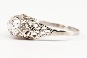 Antique Cushion Cut Diamond and Delicate Filigree Engagement Ring