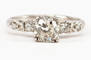 .98ct Old European Cut Diamond Art Deco Engagement Ring