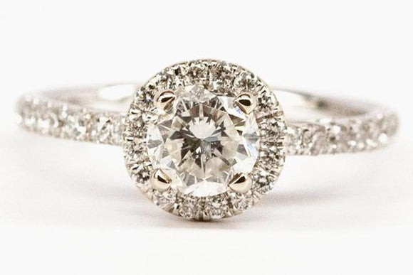 SOLD .96ct Diamond Halo Engagement Ring