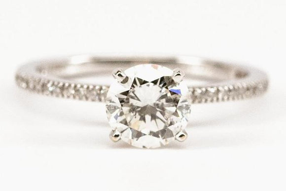 1.11ct Delicate Pave Band Diamond Engagement Ring