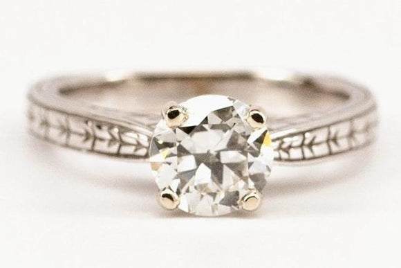 1.19ct Old European Cut Diamond Engraved Solitaire Ring