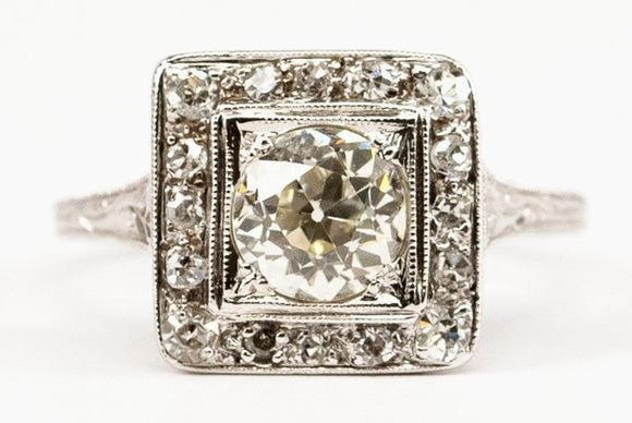 SOLD .85ct Old European Cut Diamond Ring with Square Shape Halo