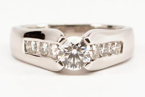 .55ct Ideal Cut Diamond Engagement Ring with Channel Set Side Stones