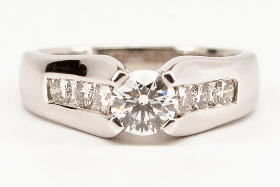 SOLD .55ct Ideal Cut Diamond Engagement Ring with Channel Set Side Stones