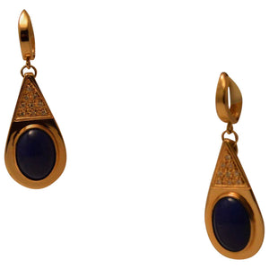 Gold and Lapis Dangle Earrings