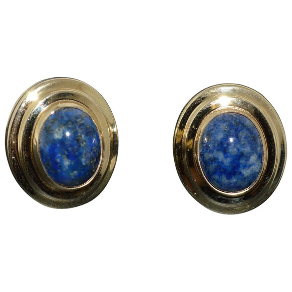 Blue Lapis and Gold Stud Earrings