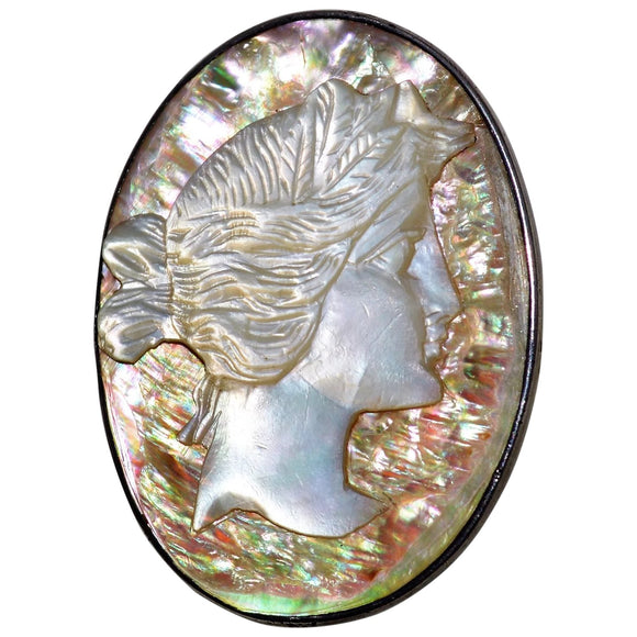 Mother of Pearl Cameo Brooch