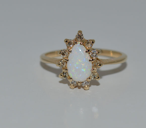 Pear Shaped Opal with Diamond Halo Ring
