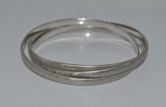 z Sterling Silver Brushed Triple Bangle