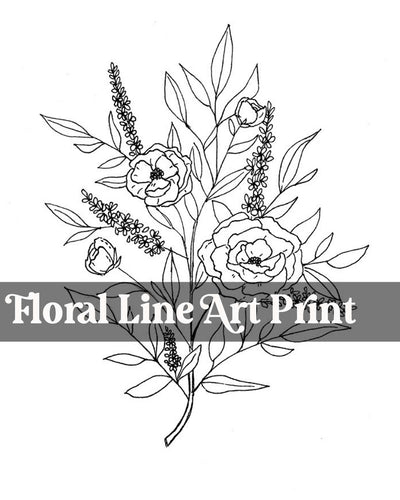Floral Line Art Digital Print